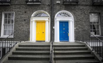 yellow and blue doors